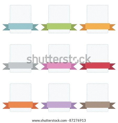 stitched ribbons on blank badges isolated on white