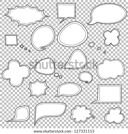 Stitched Speech Bubbles in Black, Vector Illustration