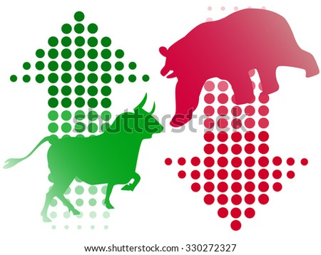 stock bull and bear icon logo with arrow design