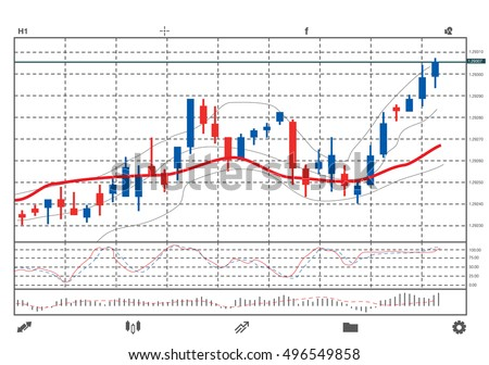 Stock chart on screen of black smart phone isolated on white background. Vector object about financial.