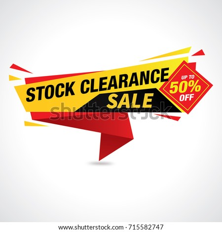 Stock clearance banner, 50% Off Sale Label, vector illustration