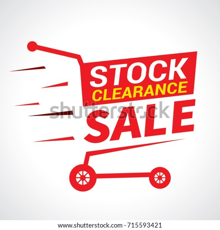 Stock clearance banner, stock clearance cart, vector illustration