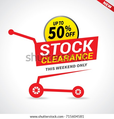 Stock clearance cart, stock clearance banner, vector illustration