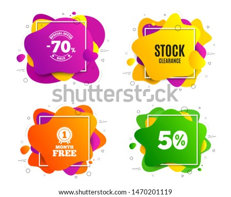 Stock clearance sale symbol. Liquid shape, various colors. Special offer price sign. Advertising discounts symbol. Geometric vector banner, square frames. Stock clearance text. Vector