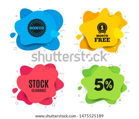 Stock clearance sale symbol. Liquid shape, various colors. Special offer price sign. Advertising discounts symbol. Geometric vector banner. Stock clearance text. Gradient shape badge. Vector