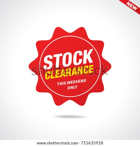 Stock clearance tag, Sales tags, Sales Label, Vector illustration.