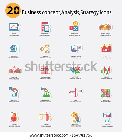 Stock exchange and Business analysis icons,Colorful version,vector