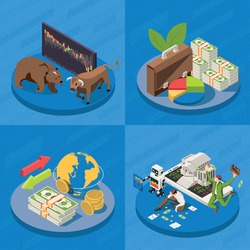 Stock exchange concept 4 isometric background compositions building  banknotes top broker bull bear market trends vector illustration