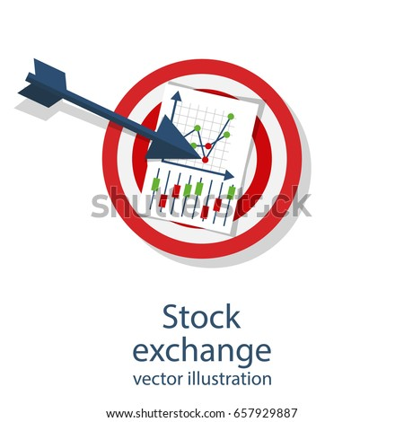 Stock exchange. Creative concept is winning in financial market. Stock trading. Forex exchange. Arrow in target. Vector illustration flat design. Isolated on white background.