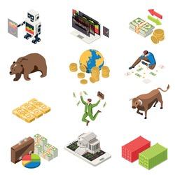 Stock exchange isometric set with building on smartphone banknotes happy broker bull bear market symbols vector illustration