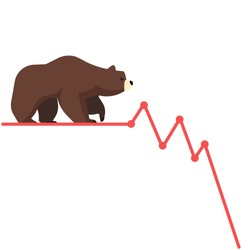 Stock exchange market bears metaphor. Falling, declining down stock price. Trading business concept. Modern fat style vector illustration.