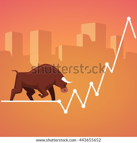 Stock exchange market bulls metaphor. Growing, rising up stock price. Trading business concept. Modern fat style vector illustration.