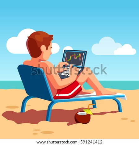 Stock exchange market trader selling and buying shares & equity using laptop computer terminal on ocean beach shore drinking cocktail. Business man summer vacation work. Flat style vector illustration