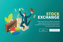 Stock exchange online trade with leading broker banknotes piles isometric background webpage trading platform website vector illustration