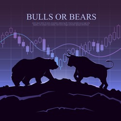 Stock exchange trading banner. The bulls and bears struggle: what type of investor will you be? Stock market concept illustration. Modern flat design.