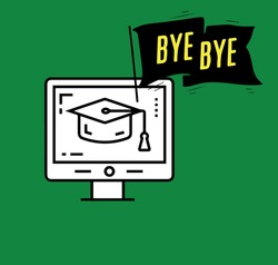 stock illustration bye bye with laptop and graduate hat