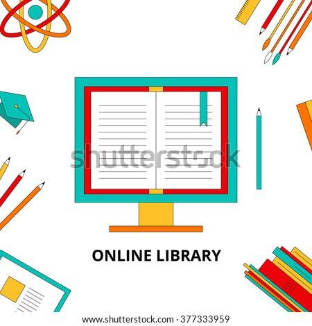 Stock Illustration Flat lay online training, webinars, job, training, work from home