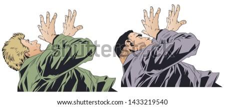 stock illustration frightened