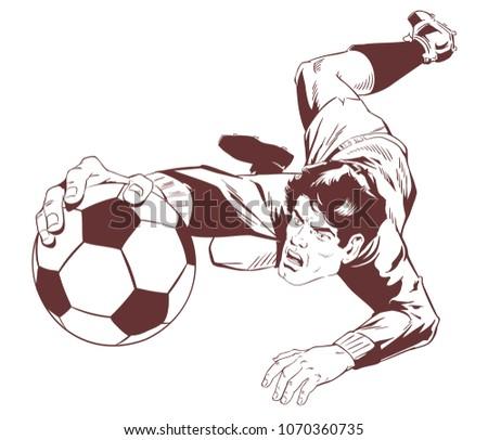 Stock illustration. Goalkeeper catches soccer ball.