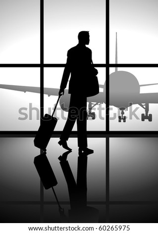 Stock illustration of a business man carrying a luggage at the airport