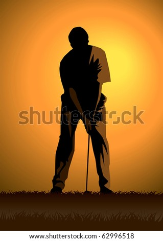Stock illustration of a golfer