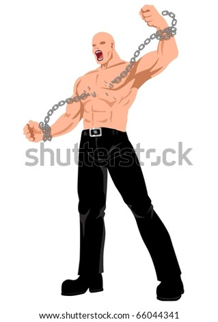 Stock illustration of a man breaking a chain