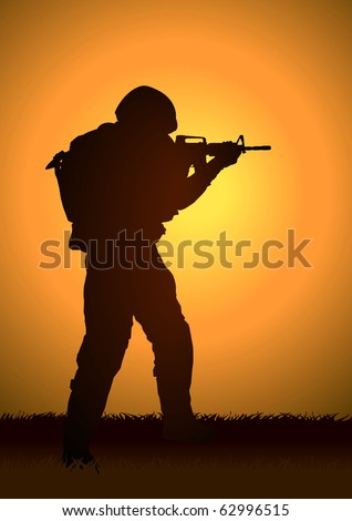 stock illustration of a soldier
