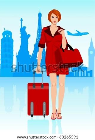 Stock illustration of a woman carrying a luggage with world famous monuments and buildings as the background