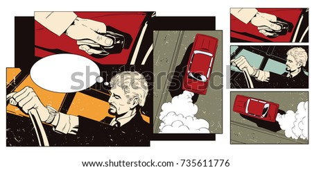 Stock illustration. People in retro style pop art and vintage advertising. Collage on theme transport and road. Man at the wheel of car.