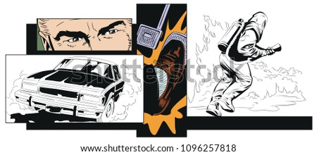 Stock illustration. People in retro style pop art and vintage advertising. Collage on theme car accident. Rescuer in protective suit.