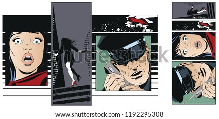 Stock illustration. People in retro style pop art and vintage advertising. Crime collage. Woman victim of criminal.
