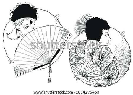Stock illustration. People in retro style pop art and vintage advertising. Girls with fan.