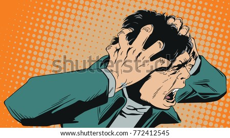 Stock illustration. People in retro style pop art and vintage advertising. Man screams in horror.