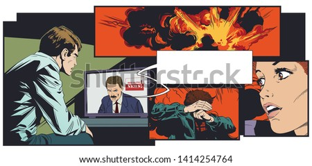 Stock illustration. Young man watching news on tv. Terrorist attack. Explosion. People in panic.