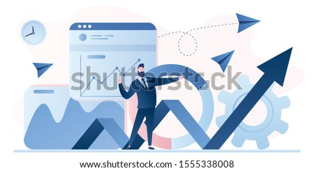 Stock market analysis. Business analyst handsome businessman. Financial Literacy background. Data science banner template. Company information inspection. Profit, Revenue Forecast. Vector illustration