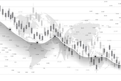 Stock market and exchange. Business Candle stick graph chart of stock market investment trading. Stock market data. Bullish point, Trend of graph. Vector illustration.