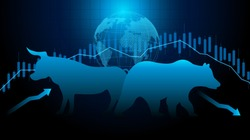 Stock market and exchange of world. Bull Market Vs. Bear Market . Candle stick graph chart of stock market investment trading. blue background. Vector.