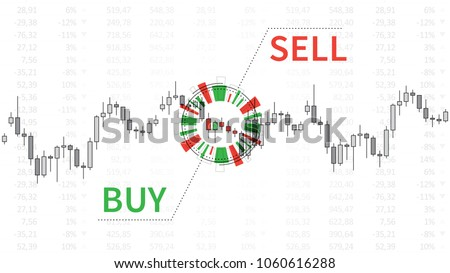 Stock market chart with graphic elements vector illustration. Financial forex trade candlestick graph with words buy and sell creative concept. Buy or sell signal for currencies (forex trade) design