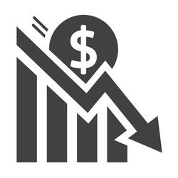 Stock market crash and losses - Coronavirus financial crisis vector icon