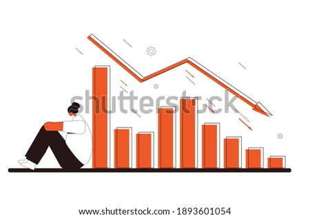Stock market crash. Investor lost money. Sad and disappointed shareholder sitting on the floor with graph fall down at computer screen. Bankrupt. Economic and financial crisis. Vector illustration Stock foto ©