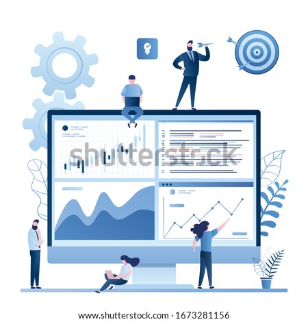 Stock market data analysis. Team of statistical analysts or businesspeople analyzing statistical information. Tiny people working. Business data analysis process, statistics.Trendy vector illustration