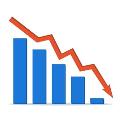 Stock market decline. Financial crisis. Arrow of decreasing economy on the graph. Loss of income, bankruptcy, decline in sales. Vector illustration.