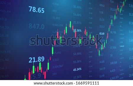 stock market, economic graph with diagrams, business and financial concepts and reports, abstract blue technology communication concept vector background Foto d'archivio ©