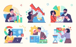 Stock market, finance, capital investment concept Illustration set. Scenes with people trading on the stock exchange. Vector illustration.