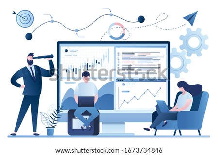 Stock market, financial analysis. Business analyst working. Profit, Revenue Forecast. Businesspeople trade in financial markets. Male boss investor. Trendy style background. Vector illustration