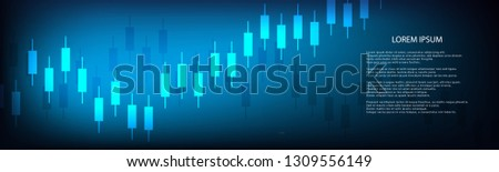 Stock market graph or forex trading chart for business and financial concepts, reports and investment on dark background . Vector illustration #1309556149