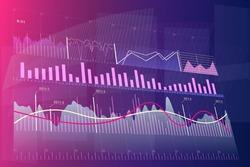 Stock market graph. Trading platform. Line graph. Vector