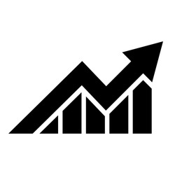 stock market growth chart in black and white