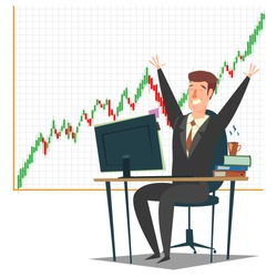 Stock market, investment and trading concept vector illustration. Candlestick chart and successful businessman happy trader looking at computer monitor while sitting at trader desk with hands raised.