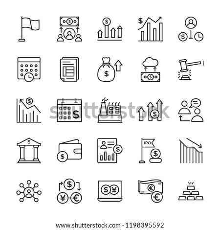Stock Market Line Icons Set